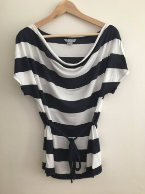 H&M Stripe Shirt dark blue-natural white modal fibre