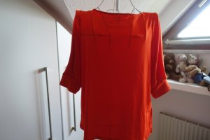 H&M Tie-neck Blouse neon orange mixture fibre