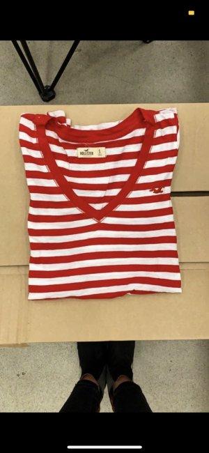 Hollister V-Neck Shirt white-brick red