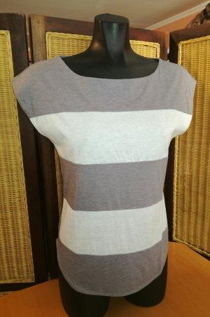 Hugo Boss T-shirt rayé blanc cassé-gris tissu mixte