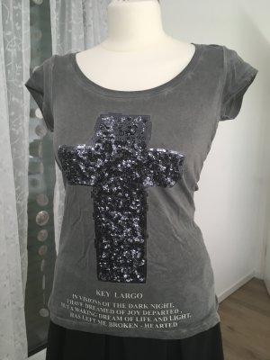 Shirt von Key Largo mit Pailletten Gr. S Khaki