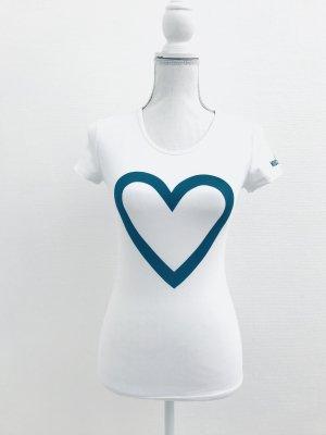 Shirt von Love Moschino, Gr. S, weiss-türkis
