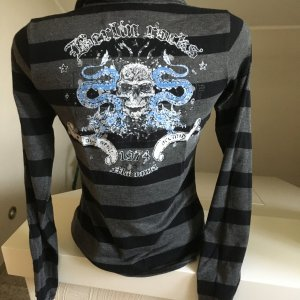 Shirt von Madonna, gestreift, mit Druck, Größe 38, guter Zustand