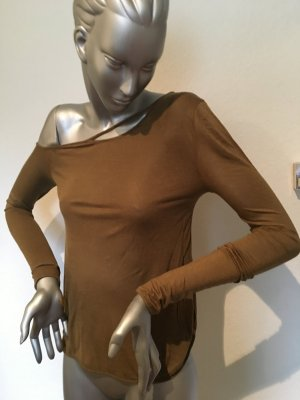 Camisa de un solo hombro caqui Algodón