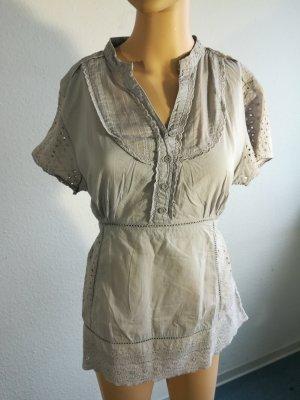Street One V-Neck Shirt light grey cotton
