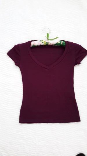 Tally Weijl V-Neck Shirt purple-magenta cotton
