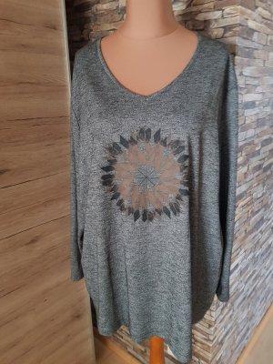 Ulla Popken T-shirt col en V gris-gris foncé