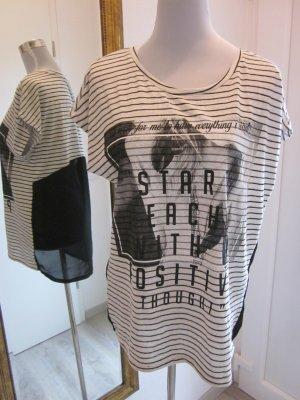Shirt vorne gestreift hinten Transparent schwarz beige Gr L NEU