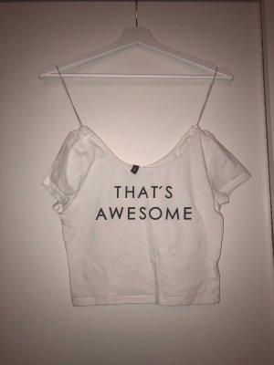 Shirt weiß Cropped H&M bedruckt Gr S