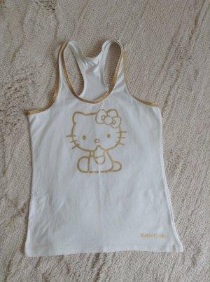 Shirt / weiß-Gold / Gr. 34 XS / Hello Kitty