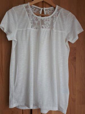 Shirt Weiß mit Spitze Takko Gr. S