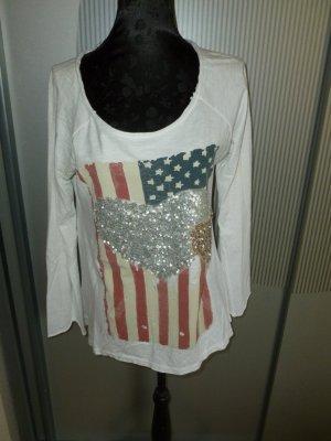 Shirt weiß USA Herz Pailletten Your&Self