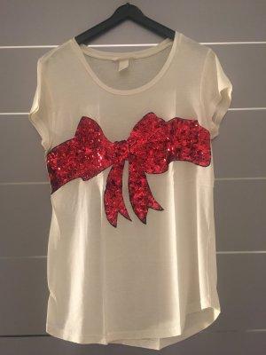 Shirt wollweiß mit roter Pailetten-Schleife Gr. S