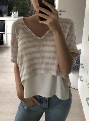 Shirt, Zara, Größe M/38, rosa/beige