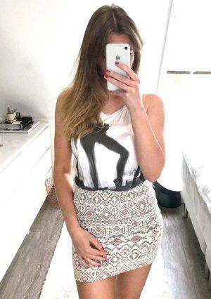Shirt Zara Top Glitzer Bluse Steine Pailletten H&M Racerback rückenfrei Ballet Bershka