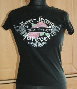 Shirt Zero schwarz mit Nieten und Aufdruck Gr. 36/S