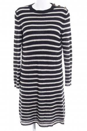 Shirtaporter Strickkleid schwarz-wollweiß Streifenmuster Casual-Look