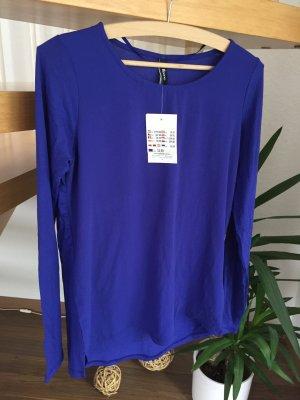 Shirtbluse blau Gr. S NEU T-Shirt Bluse mit Etikett Shirt royalblau Langarm casual Basic