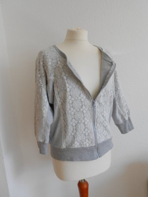 Shirtjacke Sweatjacke Materialmix gr 36 grau