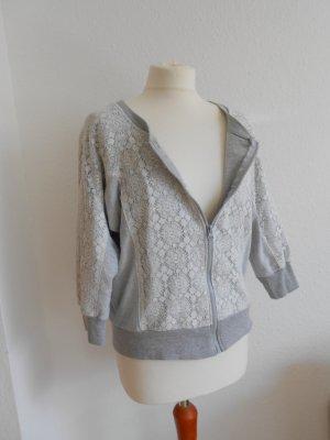 Shirtjacke Sweatjacke Materialmix gr 36 grau