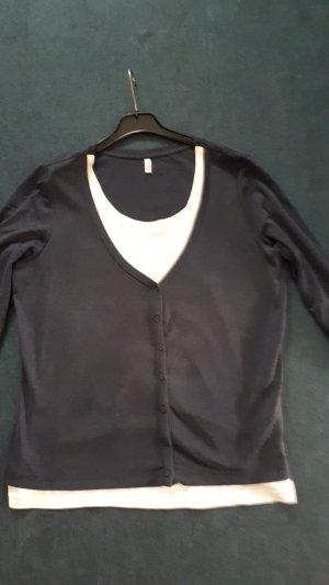 Sheego Giacca-camicia bianco sporco-grigio ardesia