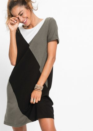 Shirtkleid 36/38 schwarz weiß khaki