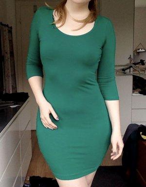 Shirtkleid Basickleid grün 36 S M Bodycon Dress Basic schlicht minikleid kurz