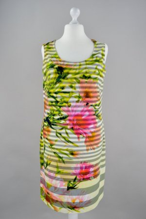 Shirtkleid gestreift, mit Blumenaufdrücken grün Größe XL