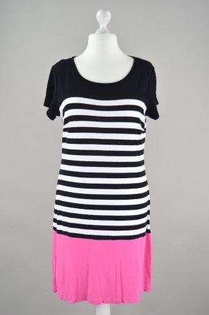 Shirtkleid gestreift, mit pinken Abschluss schwarz Größe XL
