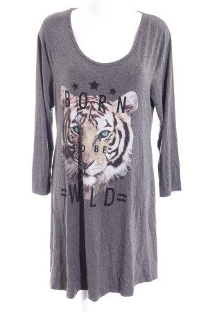 Shirtkleid grau Motivdruck Casual-Look