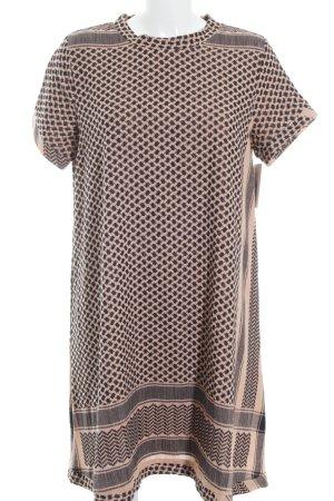 T-shirt jurk zalm-zwart visgraatmotief casual uitstraling