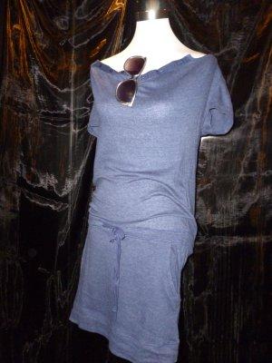 Shirtkleid Mini Gürtel Taschen Casual Streetstyle blau Gr. M