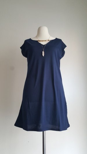 Shirt Dress dark blue-gold-colored polyester