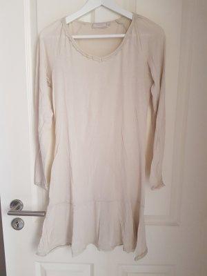 Shirtkleid Unterziehkleid V-Ausschnitt Volant Spitze Creme Gr. M