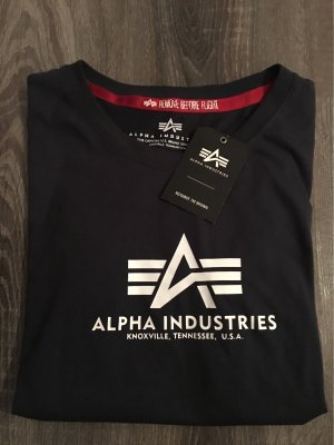 Alpha Industries Cropped shirt donkerblauw-wit