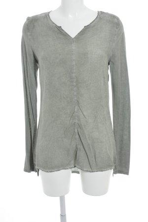 Camisa tipo túnica gris-blanco puro moteado look casual
