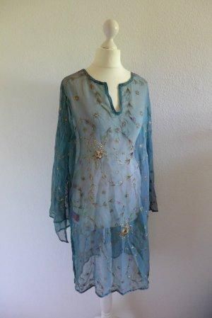 Shivadiva Tunika Kleid türkis blau gold Stickerei Boho Ibiza Seide Gr. M 38 40
