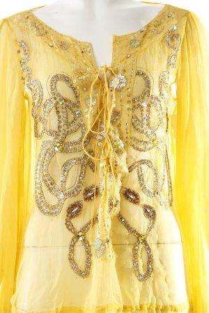 Shivadiva Tunikakleid gelb Ornamentenmuster Transparenz-Optik