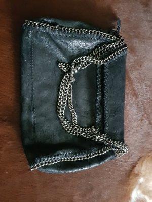 Shopper noir-gris anthracite cuir