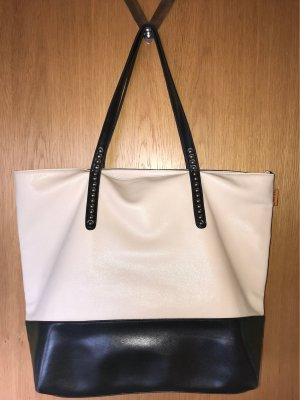 David Jones Shopper black-cream imitation leather