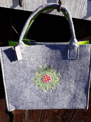 Bid Handmade Shopper lichtgrijs-weidegroen