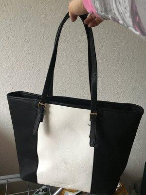 Handbag black-white imitation leather