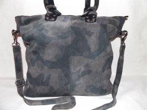 Shopper aus wild & glatt Leder, Camouflage Muster, made in Italy, NEU.