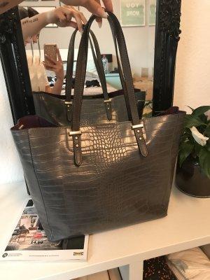 Shopper Bag croco grau