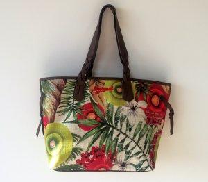 Shopper DESIGUAL Hawaii Muster große bunte Tasche geflochtene Trageriemen