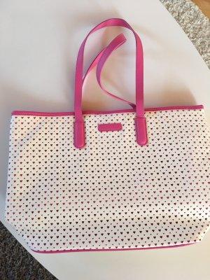 Borsa shopper bianco-rosa