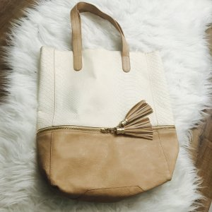 Shopper Handtasche Braun Beige Kordel Schultertasche