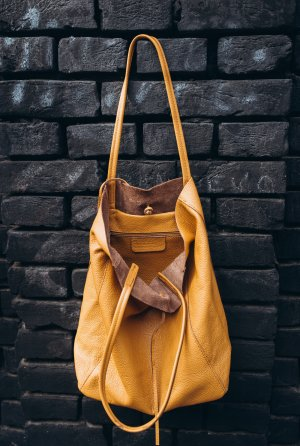 Borse in Pelle Italy Carry Bag anthracite-sand brown leather