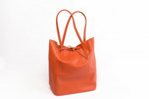 Shopper Handtasche Ledertasche weich ORANGE