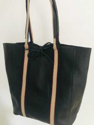 Shopper Handtasche Ledertasche weich schwarz neu